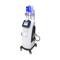 Professional salon use vertical vacuum cryotherapy cryolipolysis fat freezing slimming with rf cavitation and lipo laser pads